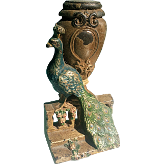 Hubley Cast Iron Peacock Doorstop Painted 1920s on Urn