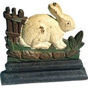 Figural Cast Iron Bunny Fence Painted Doorstop Albany Foundry Vintage