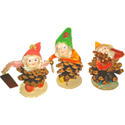 Elf Elves Gnome Vintage Christmas Pinecone Ornaments Japan St. Nick