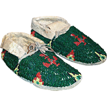 Native American Child Moccasins Beaded Thunderbird - Red Tag Sale Item
