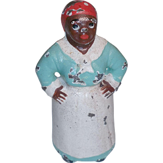 Cast Iron Mammy Black Hubley Paperweight Painted