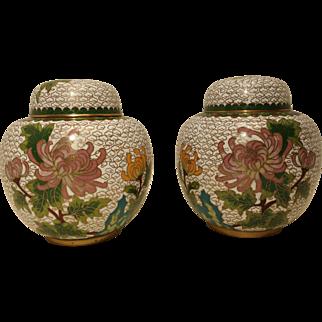 Cloisonne Enameled Ginger Jar White Chinese Chrysanthemum