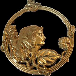 Art Nouveau  Brass Woman Trivet Wall Art