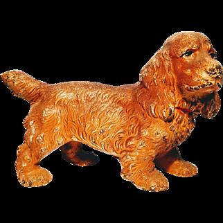 Hubley Vinatage Cast Iron Cocker Spaniel Painted Doorstop Figural  Dog Pup Lancaster Pennsylvania Puppy Door Stop