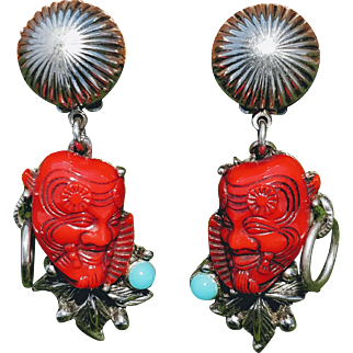 Selro Devil Earrings Red Clip Japanese Okina Noh Mask Asian Warrior Theater Signed Turquoise Cabachon Silver Tone Dangle Drop Ear Jewelry Figural Evil Spirit