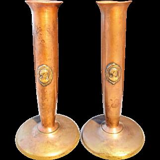 BENEDICT STUDIOS ATHENIC Bronze Copper Cameo Bud Vases, Pair Arts & Crafts, Mission, Art Nouveau Copper Candlesticks