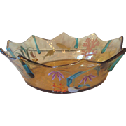 Signed Moser, Under the Sea, Enameled Glass Bowl