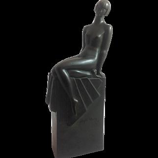 Art Deco Signed Bronze Nude