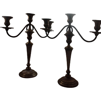 Tall Theodore Starr( 1890 to 1924)Sterling 3 Light Candelabras