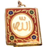 18k Gold and Enameled Islamic Koran Book Charm