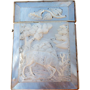 Victorian Chinese Carved Mother of Pearl Calling Card Case