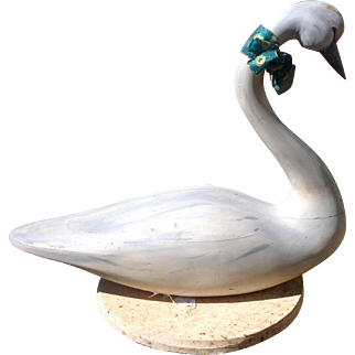 Vintage Hand Carved Large Wooden Swan Carving/ Decoy