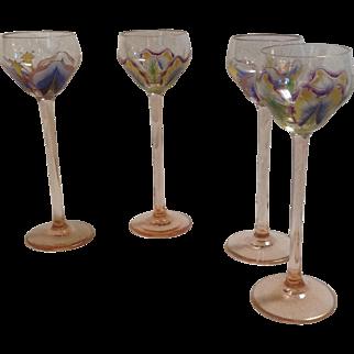 4 Myers Neff Enameled Flower Form Liqueur Glasses.