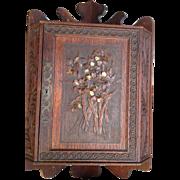 Chip Carved French Oak Hanging Corner Cabinet