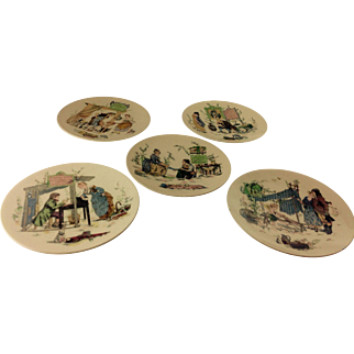 Set of 5 French Faience Plates by Sarreguemines