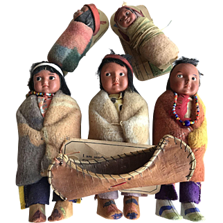 Set of Vintage Skookum (Bully Good) Indian Dolls and a Birch Canoe