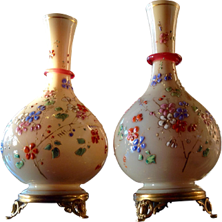 Custard Glass Posey Vases with Enameled Flowers and Cranberry Glass Appliqué