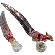"Pair Venetian Glass Cockerels 16 1/4"" tall Cranberry Gold"