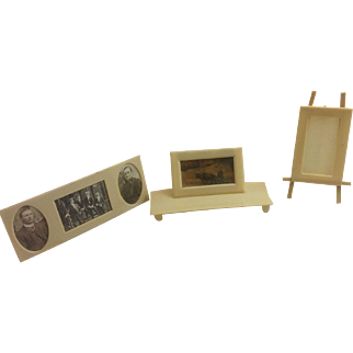 Set of 3 Ivorine, French Ivory or Faux Ivory Picture Frames