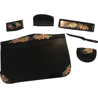 High Quality Oriental Black Lacquer Desk Set