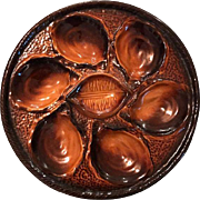 Brown Glazed French Majolica Oyster Plate