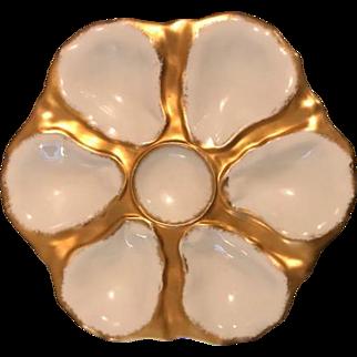 (Set of 2) Porcelain/Gold Oyster Plates