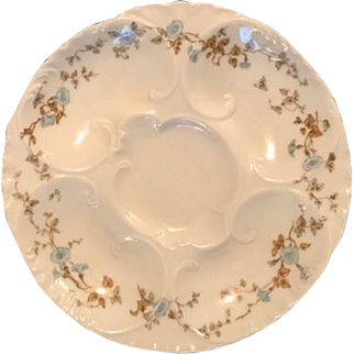 Hand Painted Oyster Plate with Pretty Blue Flowers