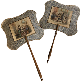 Pair of antique fans of the 1800's