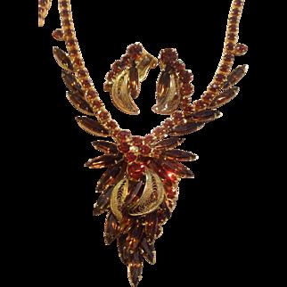 Juliana D&E Metal Filigree Leaf Rhinestone Necklace and Clip Earring Set