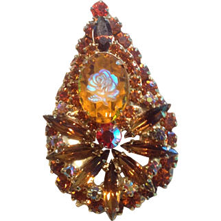 Juliana D&E Iridescent Rose and Amber Colored, Brown and Tangerine Rhinestone  Brooch Pin / Pendant