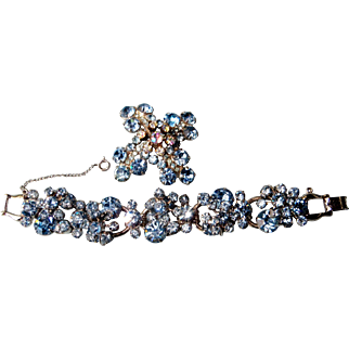 Juliana D&E Ice Blue Rhinestone and Cluster Floret 5-Link Bracelet and Brooch Pin Set