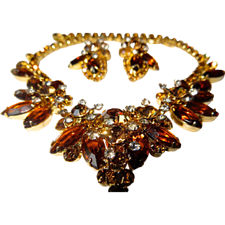 Juliana D&E Autumn Brown Gold Colored Rhinestone Floret Necklace and Clip Earring Set