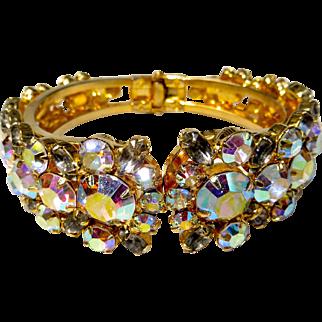 Juliana D&E Crystal AB Rhinestone Hinged Clamper Bracelet