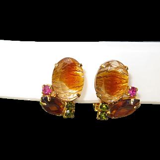 Juliana D&E Gold Colored Givre Molded and Autumn Rhinestone Clip Earrings