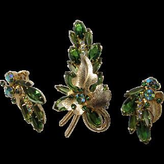 Juliana D&E Emerald Green Colored Metal Leaf Floret Rhinestone Brooch and Clip Earring Set