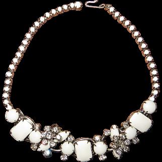 Juliana D&E Milk Glass Cabochon and Rhinestone 5-Link Necklace