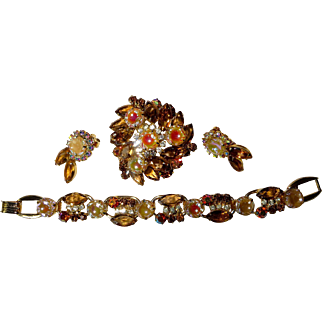 Juliana D&E Scooped Out AB Carved and Amber Colored Navette & Rhinestone Bracelet, Brooch, and Earring Set