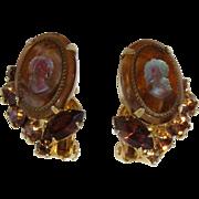 Juliana D&E Rootbeer Brown Cameo and Rhinestone Clip Earrings