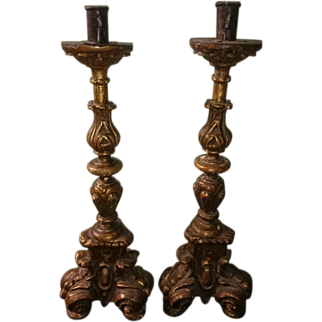 18th Century Spanish Gilt Wood Candlesticks