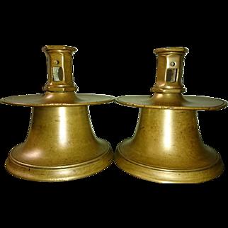 16th Century Pair of Brass Capstan Base Candlesticks