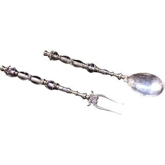 16th C. Venetian Rock Crystal Silver Spoon and Fork