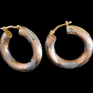Solid 14K Tri Tone Gold Hoop Earrings 2.8 Grams 1.25 inches