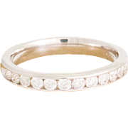 Solid 14K White Gold Natural Diamond Band 3.1 Grams Size 6.75