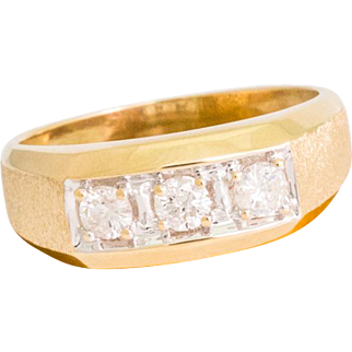 Solid 14K Yellow Gold Natural Diamond Men's Ring 6 Grams Size 10.25