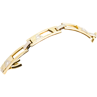 Solid 14K Yellow Gold Natural Diamond Bracelet 28.7 Grams 8.5 Inches
