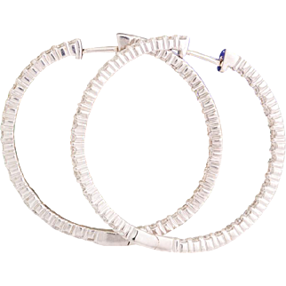 Solid 14K White Gold Natural Diamond Inside Out Hoop Earrings 6.5 Grams