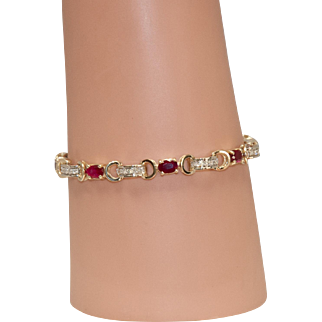 Solid 14K Yellow Gold Ruby and Diamond Bracelet