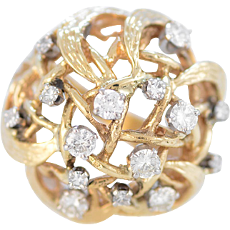 Solid 14K Yellow Gold Diamond Nest Ring Excellent Condition! Size 6