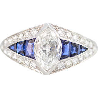 Solid Platinum Natural Marquise Ring with Genuine Sapphire Size 6.5!