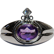 SOLID 14K White Gold Amethyst and Diamond Ring Size 6.25